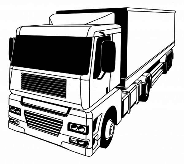 a stylised semi truck coloring page netart