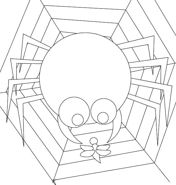 cartoon of spider eating insect on spider web coloring page netart
