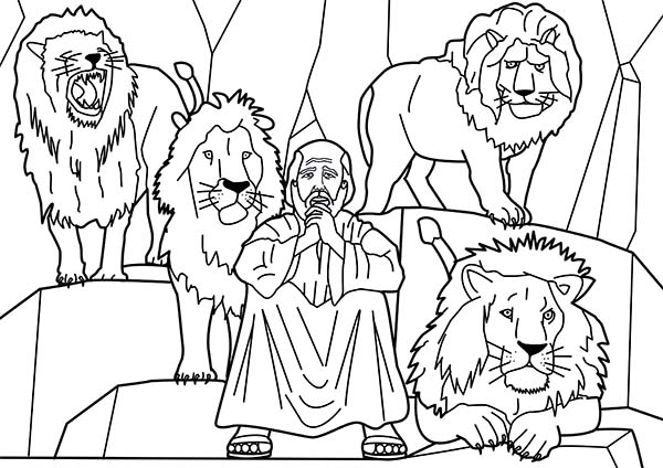 daniel and four lions in daniel and the lions den coloring