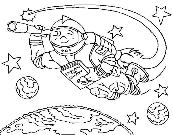floating with rocket spaceship coloring page netart