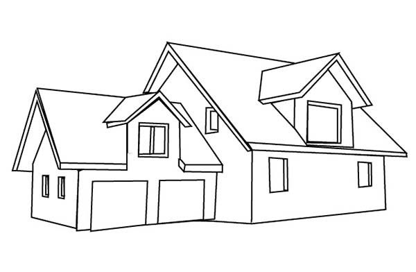 here home house house with double garage in houses coloring page