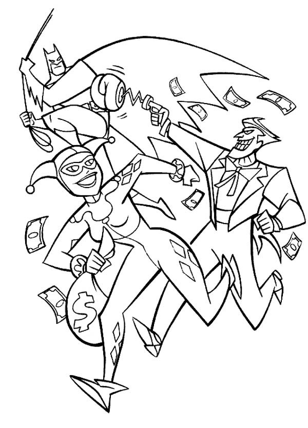 home joker joker and harley quinn pursued by batman coloring page