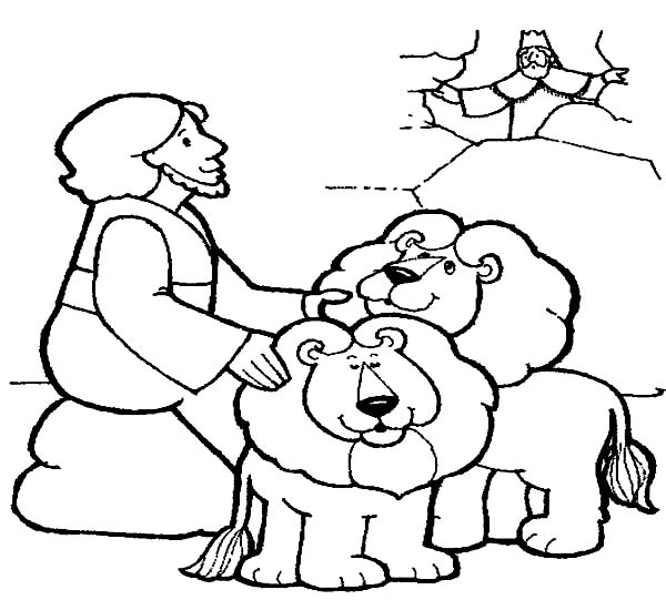 throw daniel into lions den in daniel and the lions den coloring page