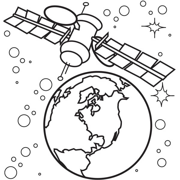 satellite of spaceship coloring page netart