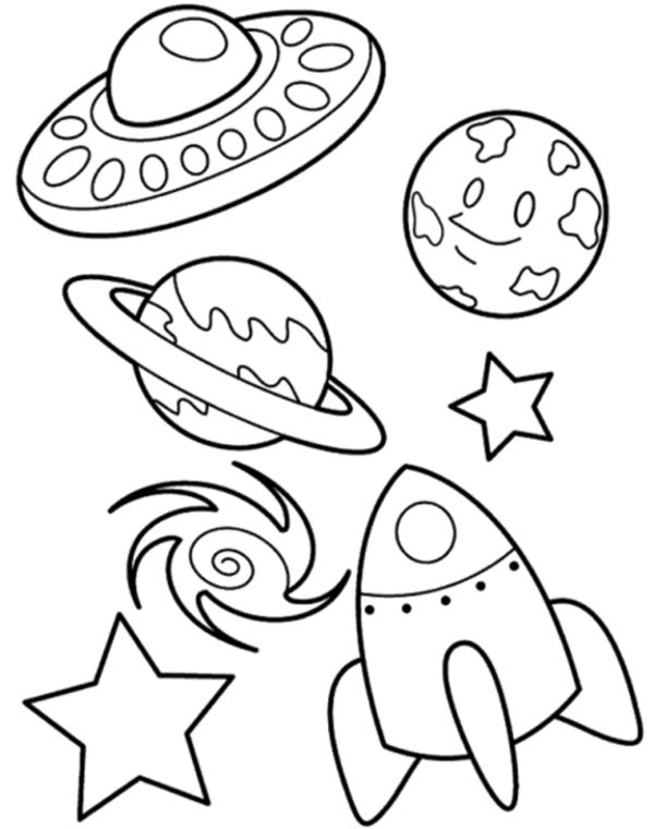 ufo planet galaxy and spaceship coloring page netart