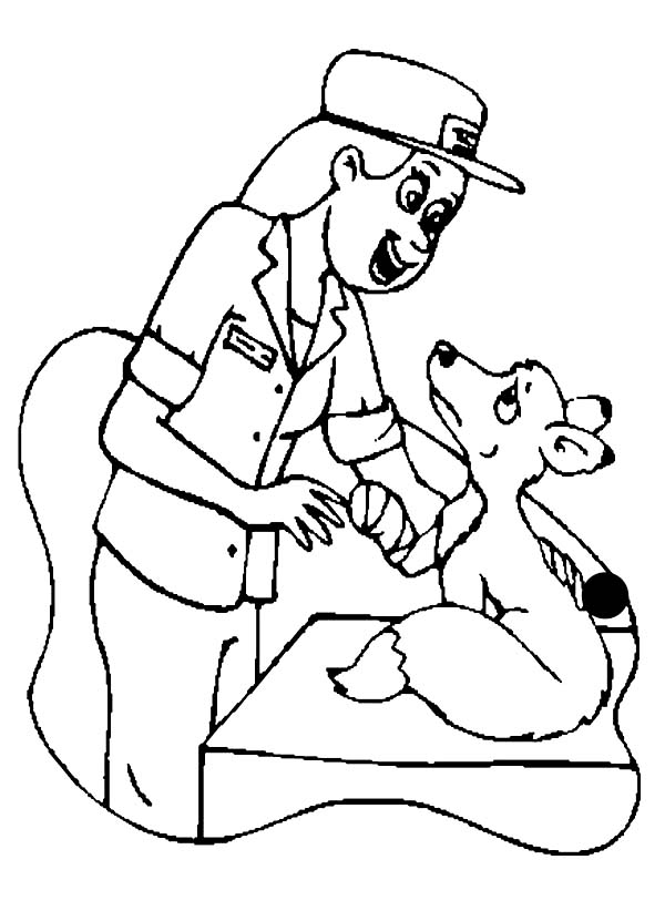 a veterinarian checking a weasel in community helpers coloring