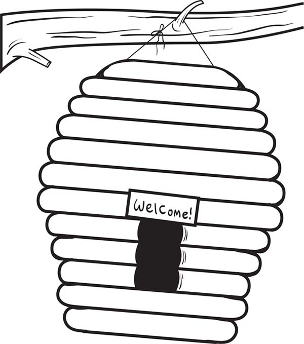 beehive  welcome sign coloring page  netart