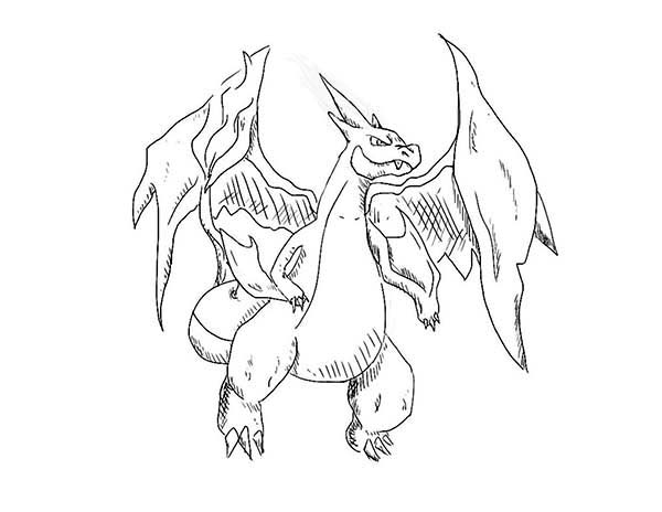 charizard is hurt after fight coloring page netart