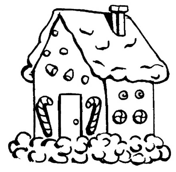 gingerbread house with candy cane in front coloring page netart