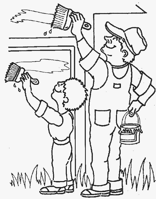painter painting wall in community helpers coloring page netart
