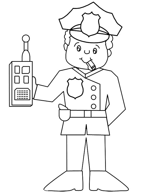 police officer uniform coloring pages police officer with walkie