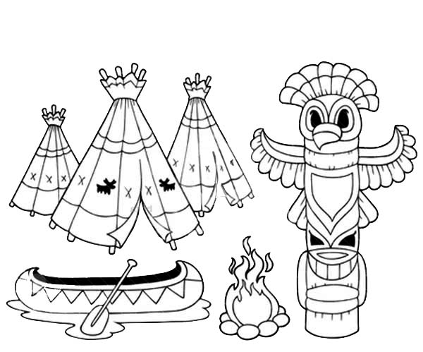 coloring book with totem vector illustration netart