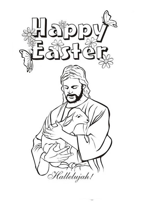 jesus christ and lamb in jesus resurrection coloring page netart