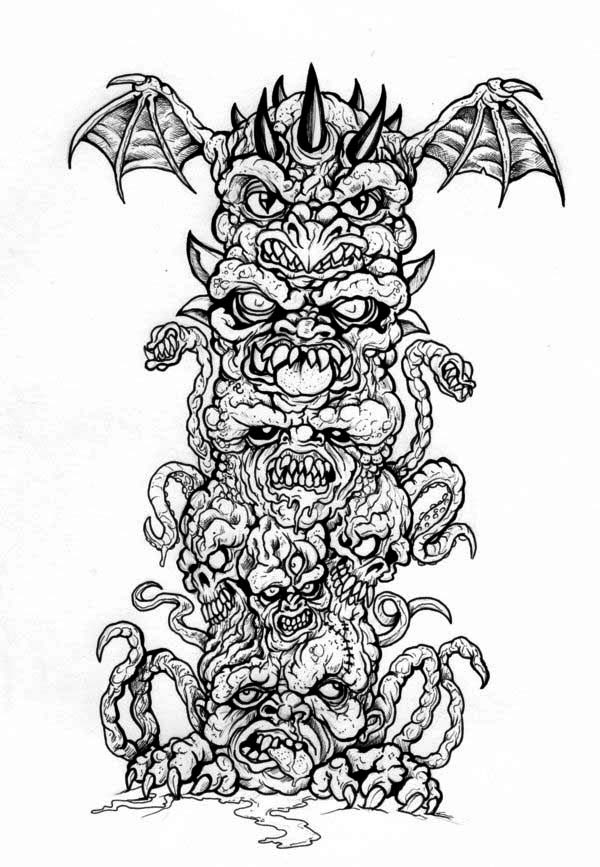 monster of totem poles coloring page netart