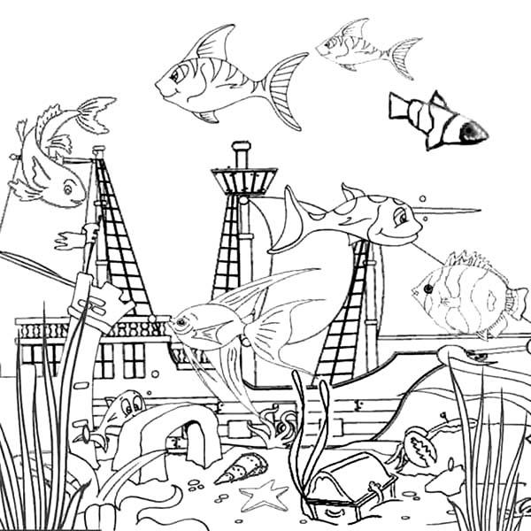 drowning galeon inside fish tank coloring page netart