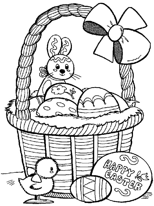 happy easter from rabbit and baby chick coloring page netart