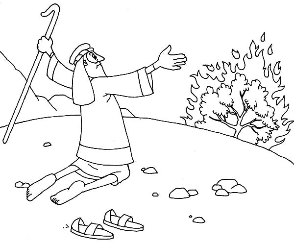 Moses & the Burning Bush coloring page | Free Printable Coloring Pages | 498x600