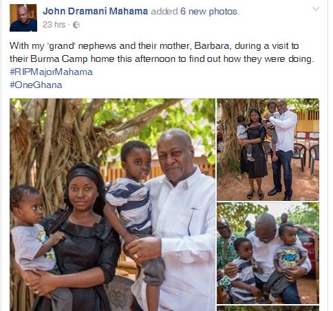 Social media roast Mahama's brag over gift to Major Mahama's widow