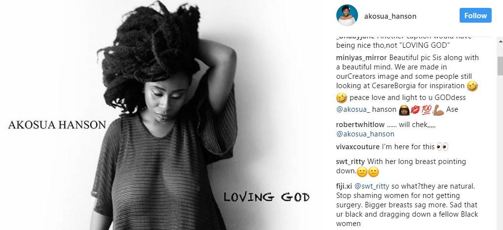 Twist! Fans lash Akosua Hanson For exposing her breasts on social media