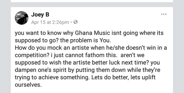 Teasing artistes when they don't win awards is unnecessary – Joey B