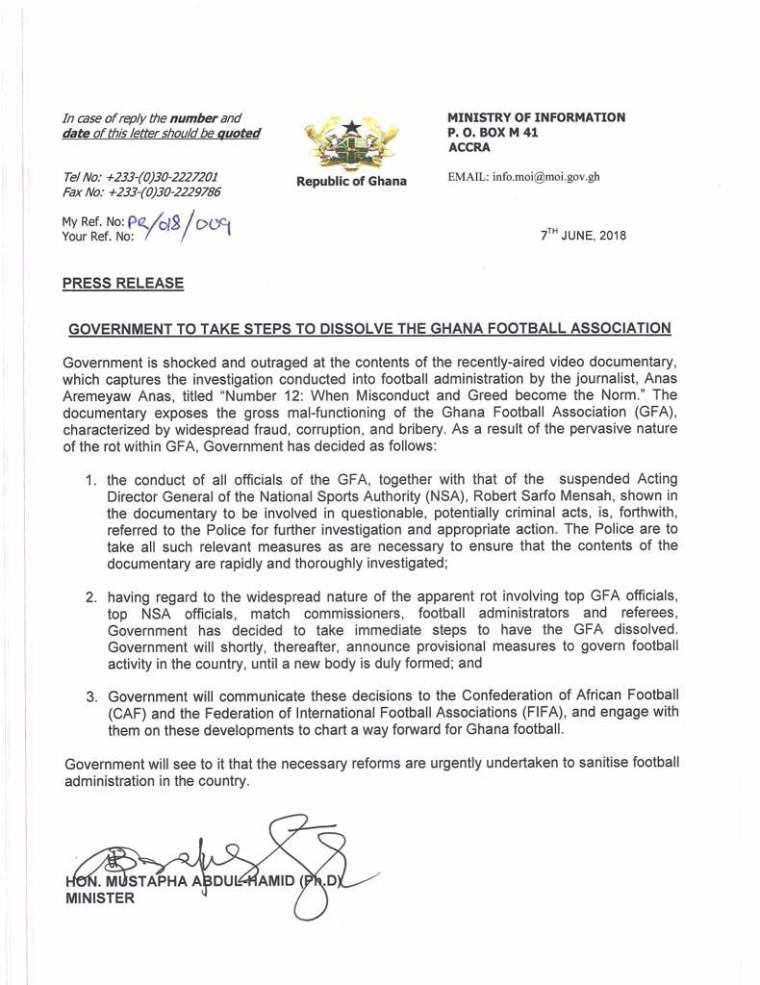 Ghana Football Association (GFA) dissolved