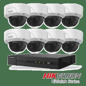 Netcam Hikvision pakke med 8 kameraer IP 2 megapixel & opptaker