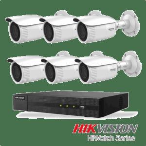 Netcam Hikvision pakke med 6 kameraer IP justerbar bildevinkel 4 megapixel & opptaker