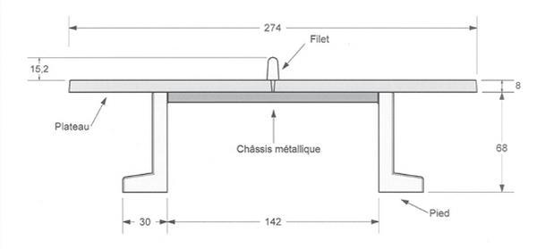 dimensions de la table ping pong en beton
