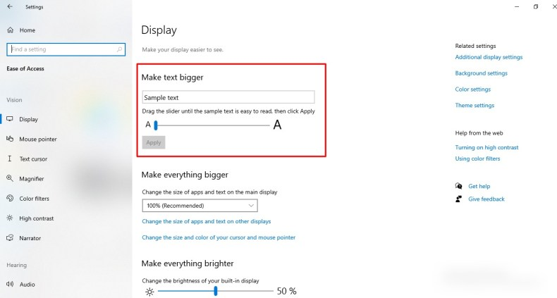 captura de pantalla de la función de visualización en Windows 10