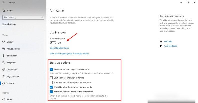 Captura de pantalla de la función Narrador en Windows 10