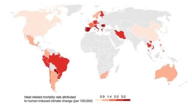 Tasa de mortalidad relacionada con el calor atribuible al cambio climático durante el período 1991-2018