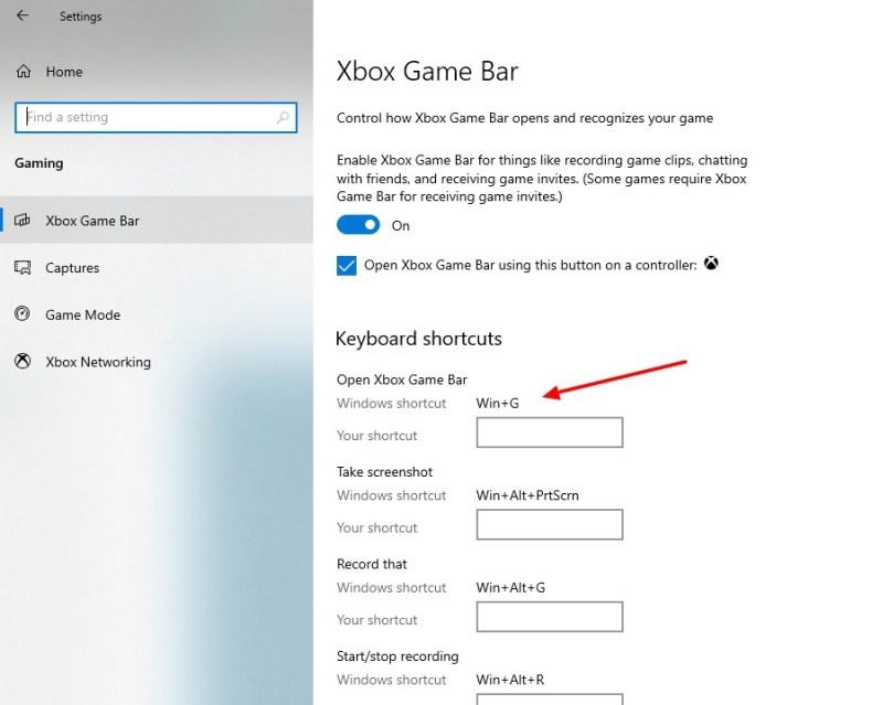 captura de pantalla de la activación de la tecla corta en la barra de juegos de Cbox en Windows 10