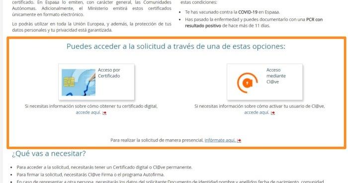 Solicitud de certificado digital COVID en línea
