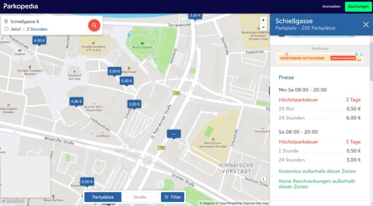 Encontrar un lugar para estacionar, con Parkopedia, es bastante fácil.  (Captura de pantalla)