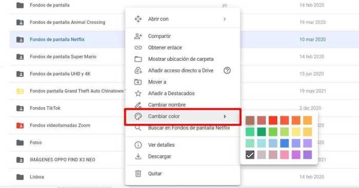 Cambiar el color de la carpeta de Google Drive