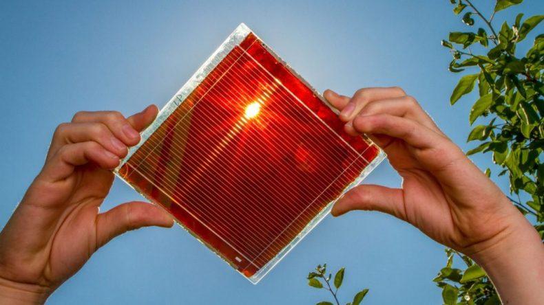 La imagen muestra células solares hechas de perovskita, un material más eficiente para manejar la energía del sol.