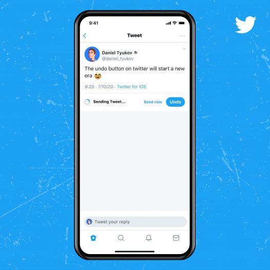 Captura de pantalla de la función Cancelar tweet en el servicio azul de Twitter
