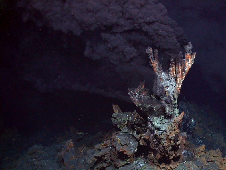 Una foto del fondo del océano muestra una fumarola negra