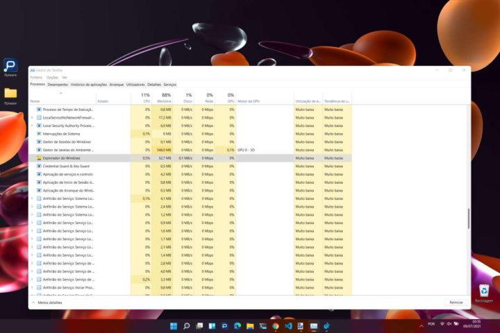 Pantalla de la barra de tareas de Microsoft Windows 11