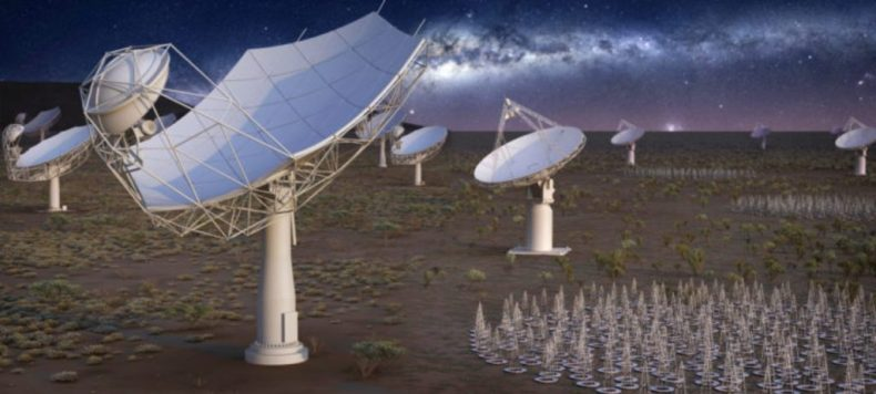La ilustración muestra cómo se ve el radiotelescopio más grande del mundo cuando se completa la construcción.