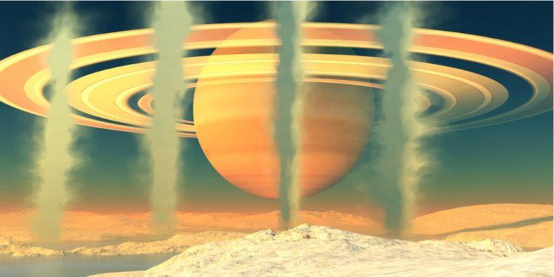 La ilustración digital muestra la producción de metano en Encelado, la sexta luna más grande de Saturno.  Los científicos utilizan este proceso químico para crear teorías sobre la posibilidad de vida en el satélite.