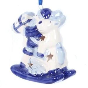 Christmas Ornament, Delft Blue, Santa and Reindeer on a Horse - Woodenshoefactory Marken
