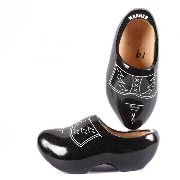 black wooden shoes