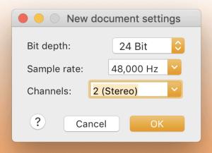 Nethervoice New Document Settings
