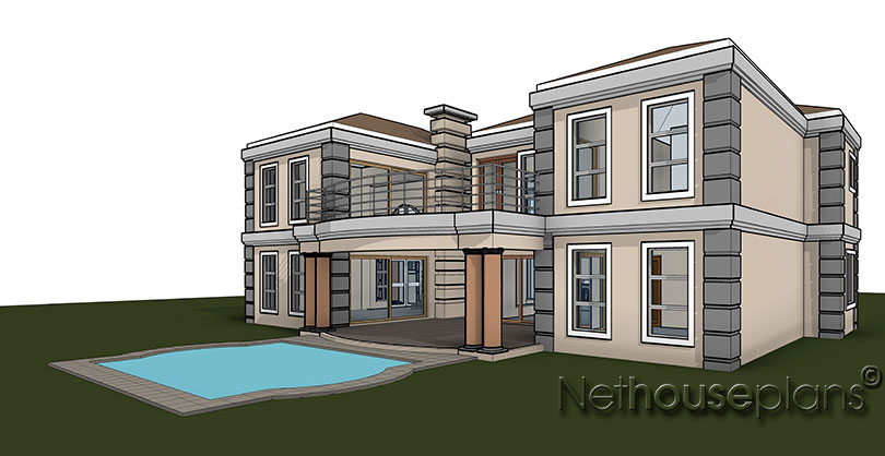 Modern tuscan style house plan, 5 bedroom , double storey floor plans