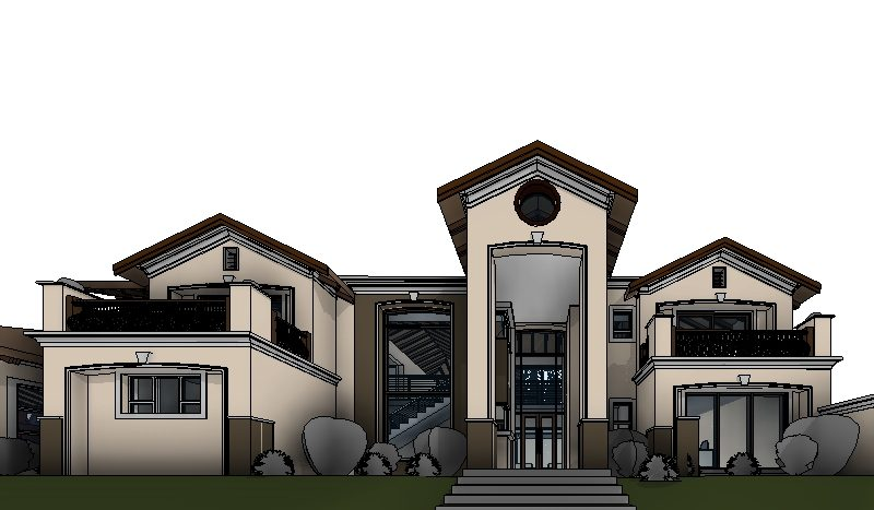4 bedroom modern house plan, double storey tuscan house plan,