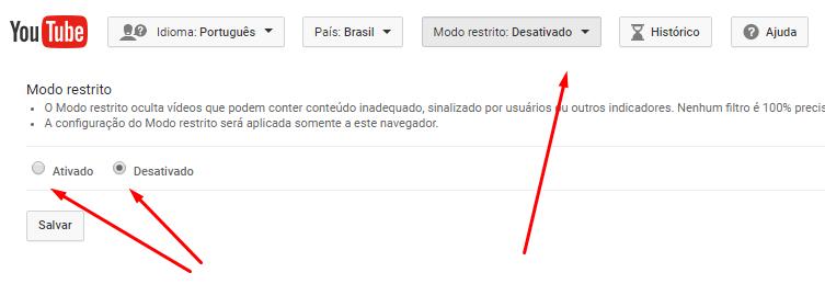 Ativar ou desativar o Modo Restrito No YouTube