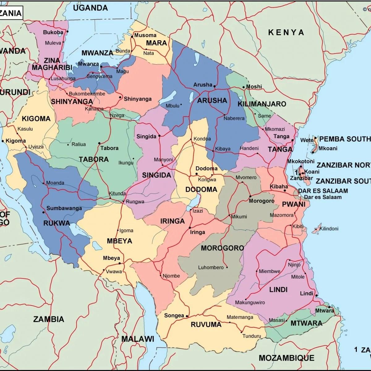Tanzania Political Map Vector Eps Maps Eps Illustrator