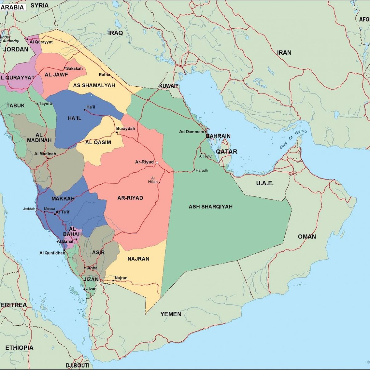 Saudi Arabia Political Map Eps Illustrator Map