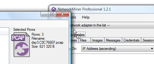 CapLoader exporting packets to NetworkMiner